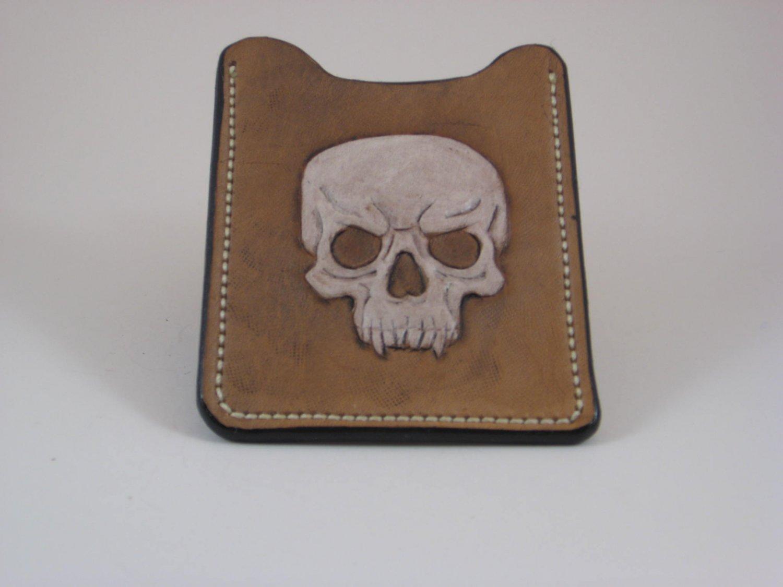 Front Pocket Wallet/Money Clip, Handtooled Leather, Skull WP0003