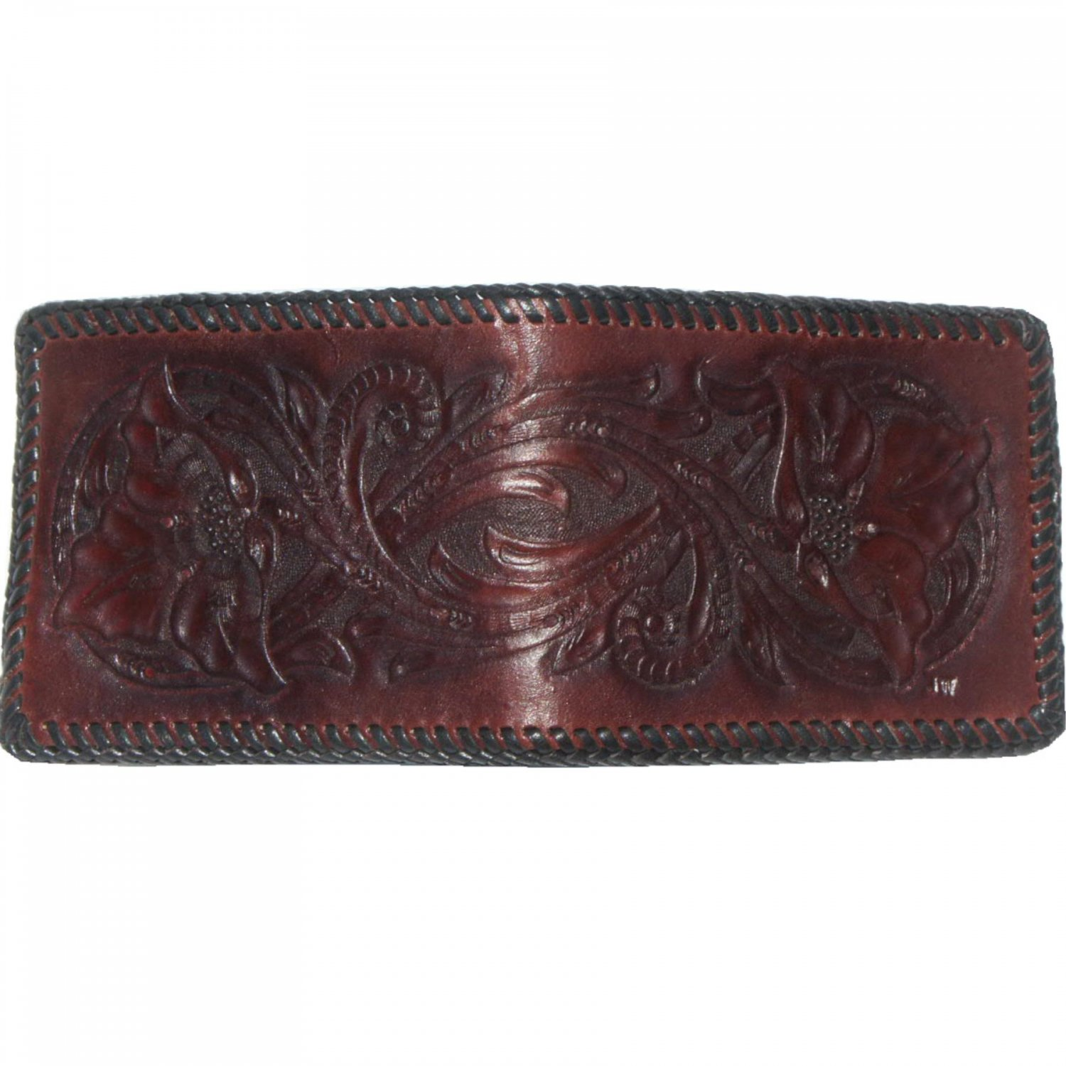 Men's Deluxe Wallet, Dark Mahogany Finish, Black Lacing, Handtooled Leather W0003.1