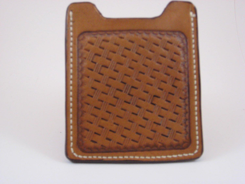 Front Pocket Wallet/Money Clip, Handtooled Leather, Basket Weave WP0002