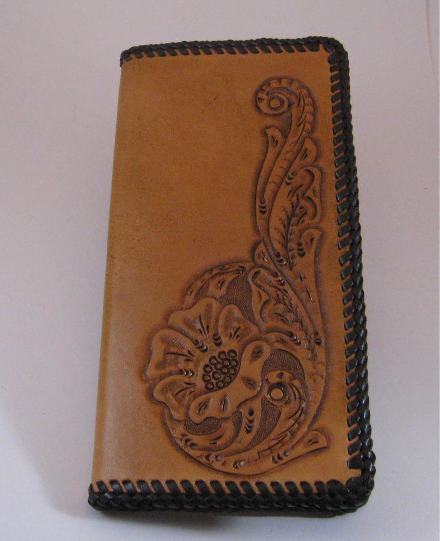 Men's Roper Wallet, Tan, Dk Brown Lacing, Handtooled Leather, Western Floral Pattern W0016