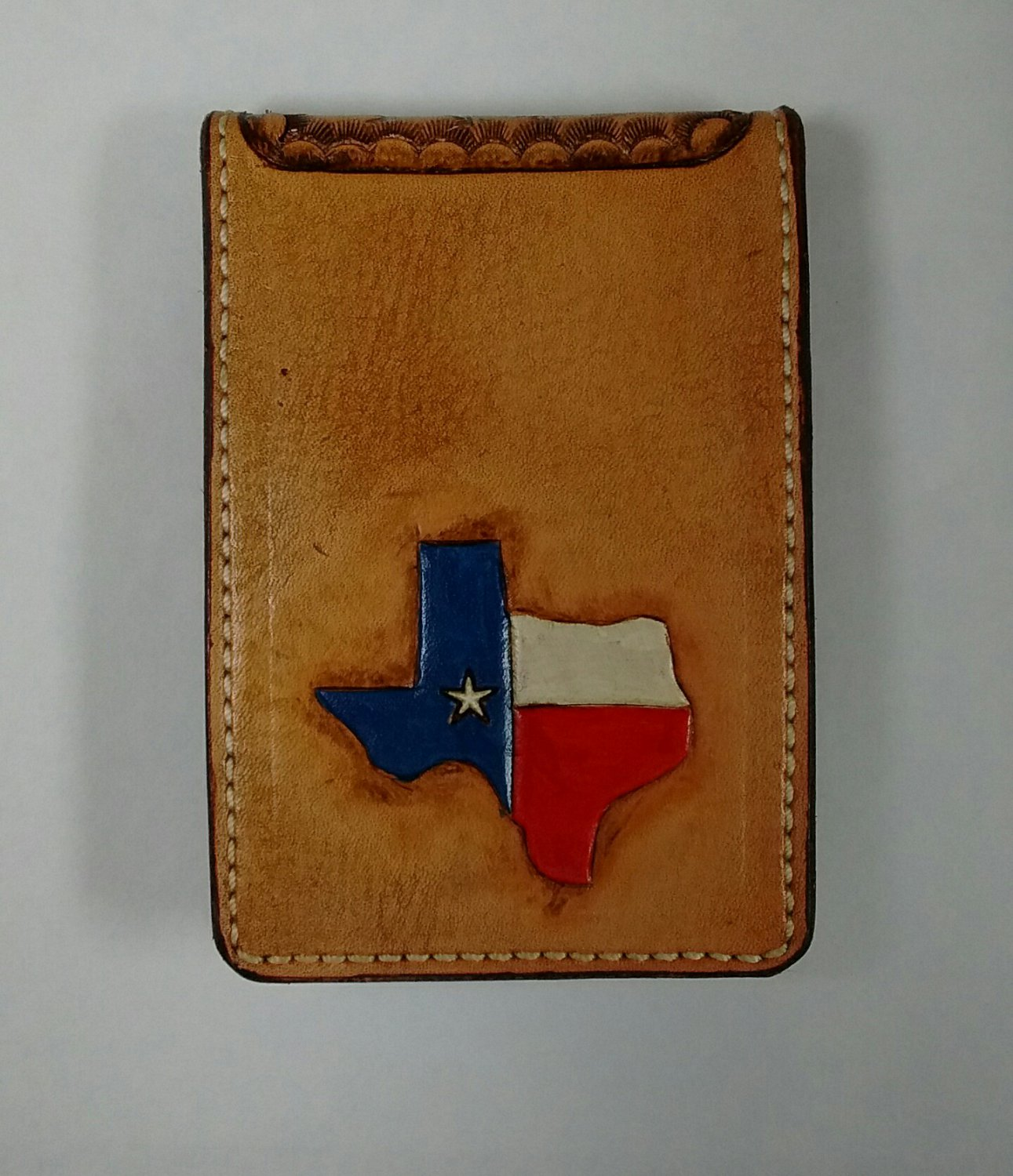 Money Fold Wallet, Texas Outline, Basket Weave, Tan Finish, Stitched WP0011