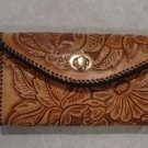 Phoenix Clutch Purse, Chestnut Tan, Black Lacing, Handtooled Leather, Western Floral PU0003