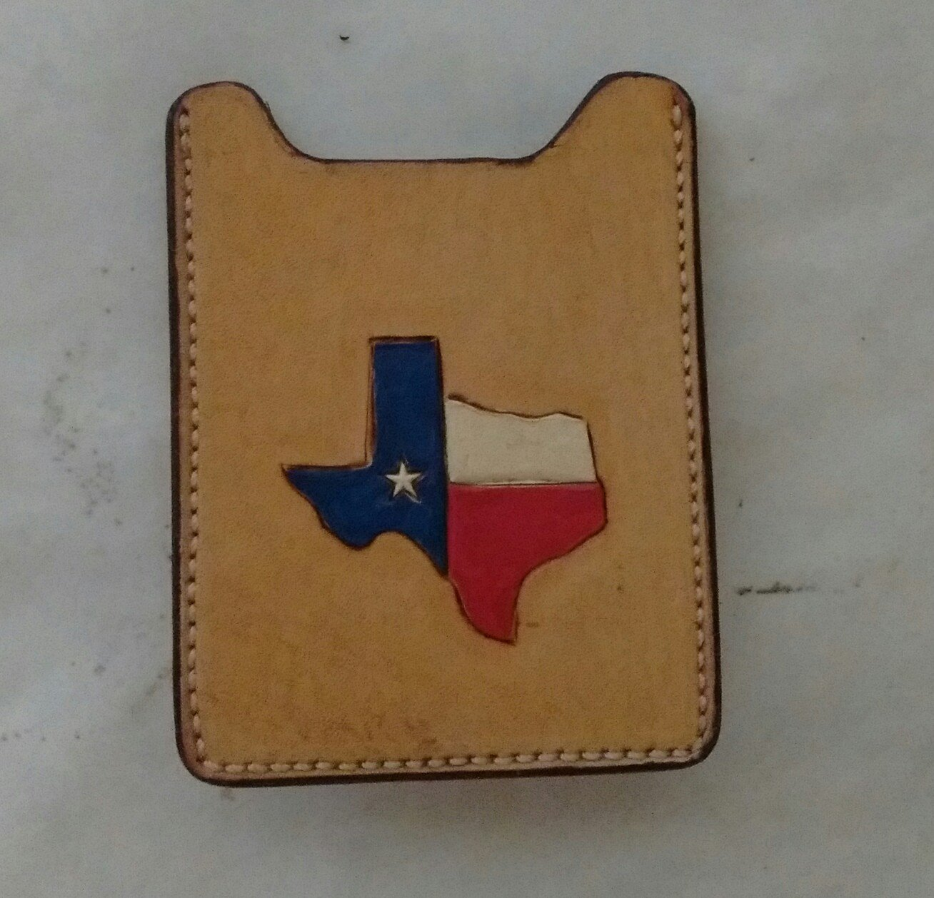 Front Pocket Wallet/Money Clip, Handtooled Leather, Texas Outline WP0004
