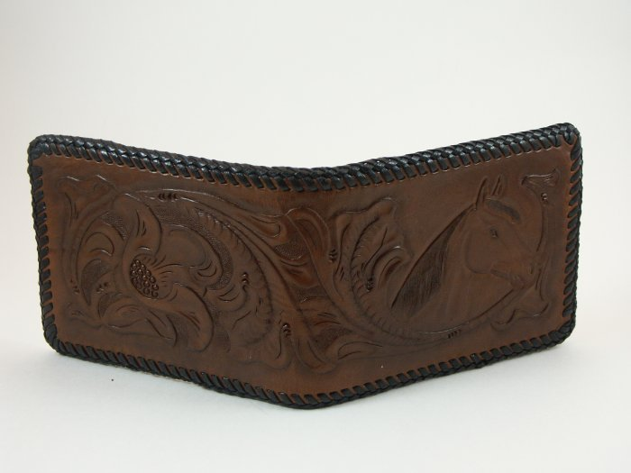 Men's Deluxe Wallet,Walnut, Brown Lacing, Handtooled Leather, Western Floral, Horse W0005.1