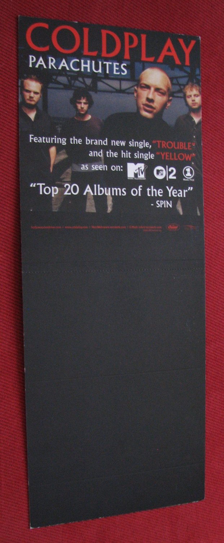 Coldplay: Parachutes CD Bin Card