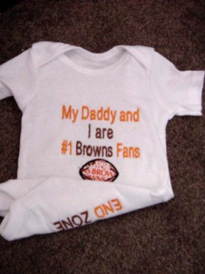 Cleveland Browns Football Baby Infant Newborn Onesie Creeper Hat Embroidered