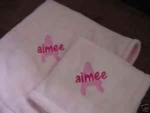 Personalized Pink Baby Blanket Tahoe Blankie Fleece Set