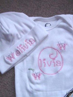Personalized Girls Baby Infant Newborn Onesie Hat Set
