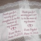 GIFT MOTHER BRIDE GROOM WEDDING HEART HANKIE BRIDAL Set