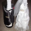 Personalized Wedding  Bride/Groom Wine Bottle Cover Set