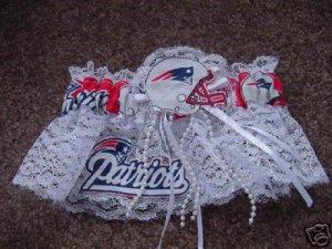 New England Patriots Football NFL Bridal Wedding Garter Keepsake