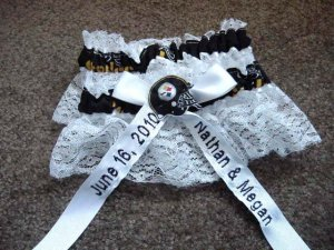 Personalized Pittsburgh Steelers NFL Football Garter Set Add your names and date