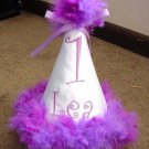 Personalized Purple Happy First Birthday Pary hat Boa