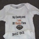 St. Louis Rams Football Baby Infant Newborn Onesie Creeper Short or long Sleeves Embroidered