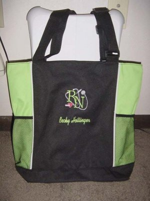 Personalized Nurse RN Tote Bag  W/ PocketsLime Green