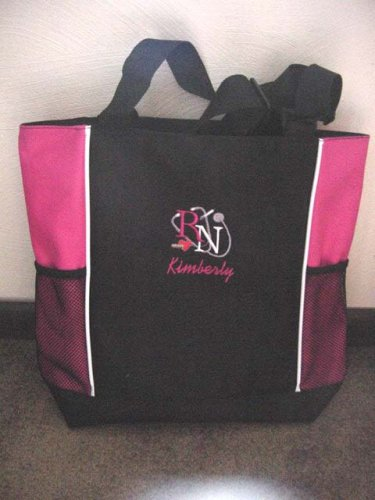 Personalized Nurse RN Tote Duffle Bag Pockets Hot Pink