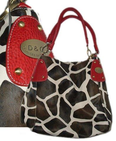Giraffe Print Purse - red