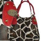 Giraffe Print Purse - red