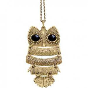 Vintage Owl Pendant Long Bronze Chain Necklace Clothes
