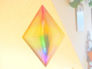 3D reflecting colorful rhomb shaped WIND SPINNER NEW