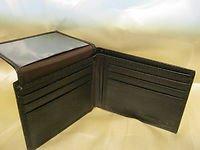 New Mens Black Brown Genuine Leather Bi-Fold Wallet 6 CC Slots ID Slot & Bills