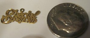 "14kt Gold Charm Special Friend Pendant~.4""x.75"" ~Grams .54~Beautiful Gift"