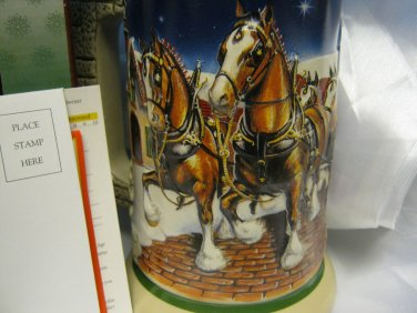 New Budweiser 1998 Collectible Beer Stein Mug in Box Grants Farm Clysdales Great Gift!