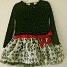 Toddler Girls Fancy Dress 48 mos Black Velvet Off White Bottom Red Satin Bow