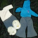 Build a Bear Clothes Lot Jeans, Tee, Hoodie, Skirt & Sneakers - Skechers