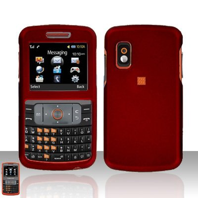Red Cover Case Rubberized  Snap on Protector + free car charger for Samsung Magnet A257