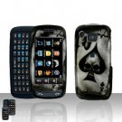 Skull Spade Cover Case Rubberized Snap on Protector + LCD Screen Cover for Samsung Impression A877