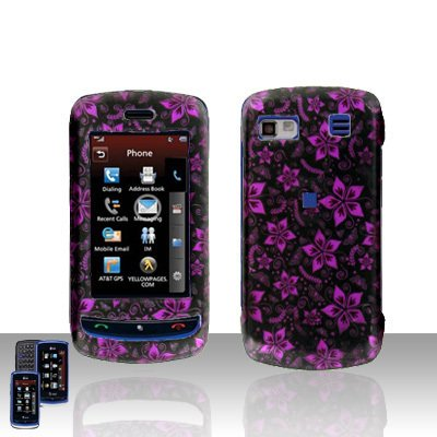 LG Xenon GR 500 Purple Flower Cover Case Protector + LCD Screen Cover +Car Charger