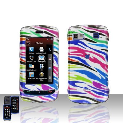 LG Xenon  GR 500 Rainbow Zebra  Cover Case Hard Case Snap on Cover+ LCD Screen Cover +Car Charger