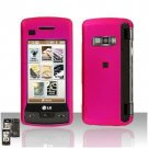 Pink Cover Case Rubberized  Snap on Protector + LCD Screen Guard for LG enV TOUCH VX11000