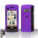 Purple Cover Case Rubberized  Snap on Protector + LCD Screen Guard for LG enV TOUCH VX11000