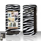 Black Zebra Cover Case Rubberized  Snap on Protector + Car Charger for LG enV TOUCH VX11000