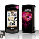 Heart Design  Rubberized Case Snap on Protector + Car Carger for LG enV TOUCH VX11000