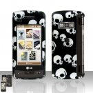 Falling Skull Rubberized Case Snap on Protector + LCD Screen Guard for LG enV TOUCH VX11000