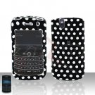 Blackberry Tour 9630 BB Polks Dot Rubberized Cover Case Snap on Protector + Car Charger