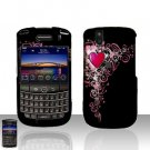Blackberry Tour 9630 BB Heart Rubberized Cover Case Snap on Protector + Car Charger