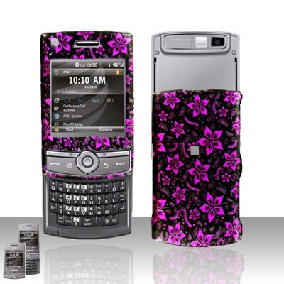 Purple Flowers Rubberized Hard Case Snap on Protector for Samsung Propel Pro i627