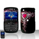 Blackberry Curve 8520 8530  Classic Heart Design Rubberized Cover Case Snap on Protector