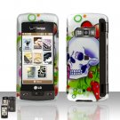 Skull Rubberized Case Cover Snap on Protector for LG enV TOUCH VX11000