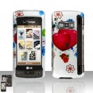Hearts Flowers Design Rubberized Case Cover Snap on Protector for LG enV TOUCH VX11000