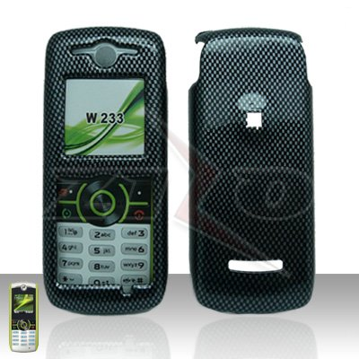 Carbon Fiber Cover case Rubberized Hard Case Snap on Protector for Motorola Renew W233