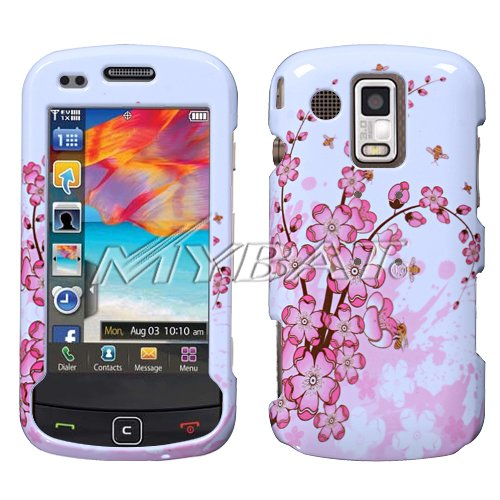 Pink Flowers Cover Case Snap on Protector + Car Charger for Samsung Rogue U960
