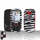 Zebra Snap on Cover Case + LCD Screen Guard Protector for Samsung Intensity U450