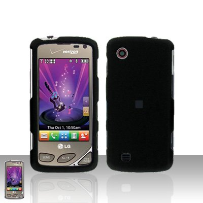 Black Rubberized Case Cover Snap on Protector for LG Chocolate Touch VX8575