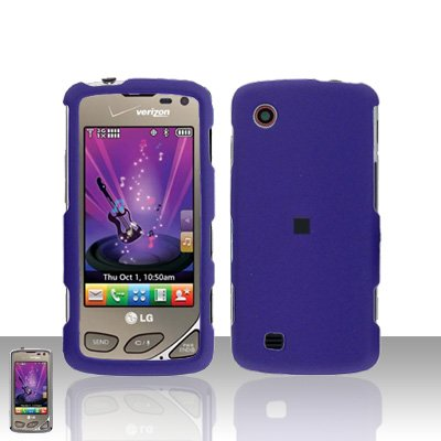 Purple Case Cover Snap on Protector + Car Charger for LG Chocolate Touch VX8575