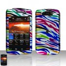 Blackberry Storm II 9550 Rainbow Zebra Cover Case Snap on Protector + LCD Screen Guard